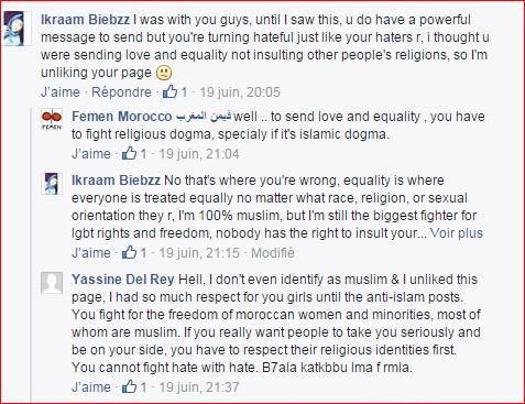 Capture d'écran : page Facebook des Femen Maroc